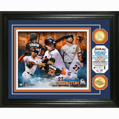 "Miami Marlins Giancarlo Stanton Highland Mint 2017 National League MVP Award 13"" x 16"" Bronze Coin Photo Mint"