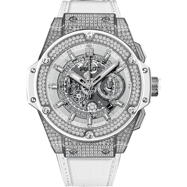 Hublot King Power UNICO Chronograph 48mm 701.ne.0127.gr.1704 Watch (43,565 CAD) ❤ liked on Polyvore featuring men's fashion, men's jewelry, men's watches, titanium, hublot mens watches, mens white watches and mens chronograph watches