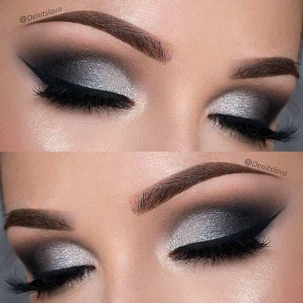 21 Insanely Beautiful Makeup Ideas for Prom: #4. DRAMATIC BLACK & SILVER SMOKEY EYE