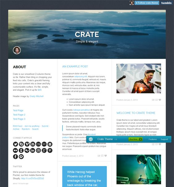 This masonry Tumblr theme features an HTML5 audio player, infinite scrolling, support for pages, Facebook Comments, easy color customization, Twitter and Flickr feeds, a responsive layout, a social sharing widget, and more.