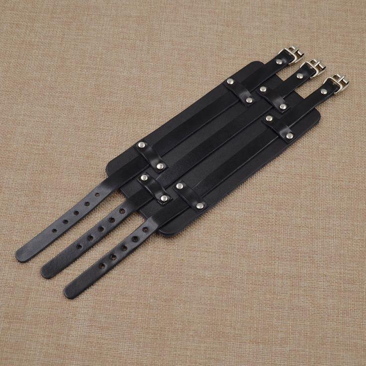 Men's Black Wide Genuine Leather Mens Bangle Cuff Wristband Bracelet Proto-Punk