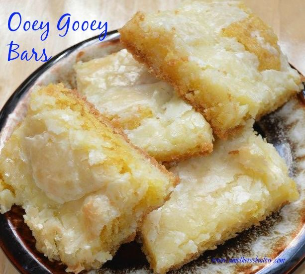 Ooey Gooey Bars. These are delicious melt in your mouth scrumptious bars that are amazing dessert or treats.  www.amothersshadow.com
