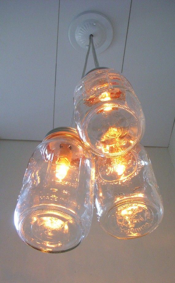 COUNTRY GLOW Mason Jar Chandelier  3 Quart Jars   by BootsNGus, $70.00