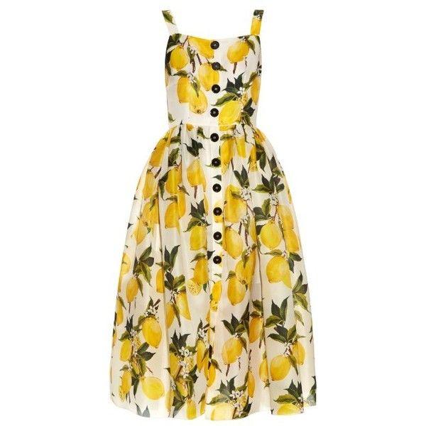 Dolce & Gabbana Lemon-print silk-organza dress (£1,620) ❤ liked on Polyvore featuring dresses, yellow multi, yellow cocktail dress, fit and flare cocktail dress, yellow full skirt, fit and flare dress and petite dresses