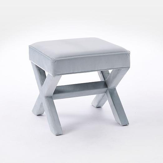Cross Base Ottoman In Luster Velvet Silver From West Elm. Also Available In  Celestial Blue · Street FurnitureFurniture ...