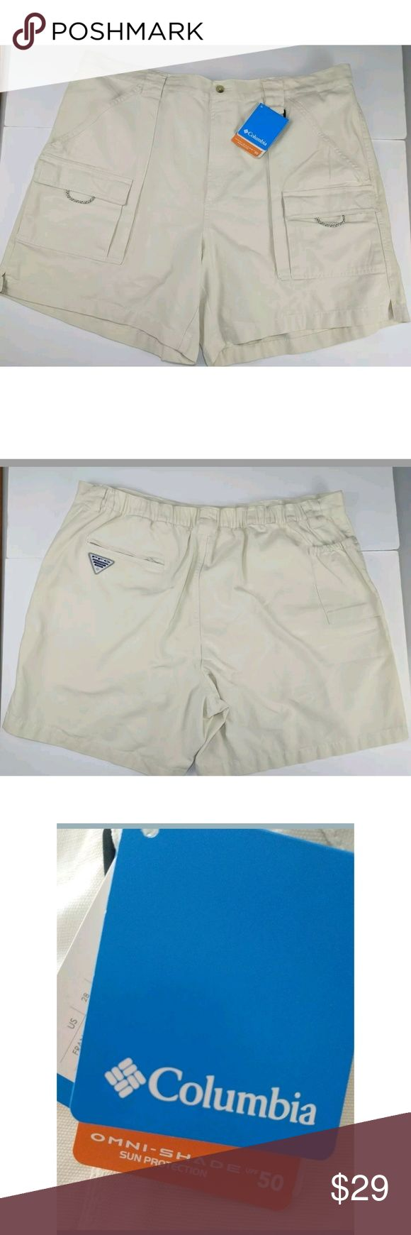 New Columbia PFG Fishing Shorts Size XL New Columbia PFG Fishing Shorts Size XL. Omni SPF 50.  Waist measures 38 inches unstretched but has elastic.  Inseam measures 6.5 inches. Columbia Shorts