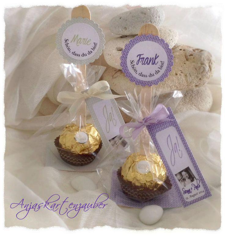 Ferrero Roger als Platzkarte - www.anjaskartenzauber.net Gastgeschenke Einladungen Schokoladen Hochzeit Taufe Geburtstag