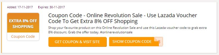 Shop your favourite product on this Online Revolution Sale and use this Lazada voucher code to grab extra 8% discount. Grab the offer today. #onlinerevolutionsale #Lazada_Voucher_Codes #BlackFriday #BlackFridaySG #Singapore #Lazada_promo_codes #Lazada_coupon_codes #Lazada_discount_code #Singapore #BlackFriday #BlackFridaySG #BlackFriday2017 #BlackFridaySale #Black_Friday https://sg.collectoffers.com/lazada