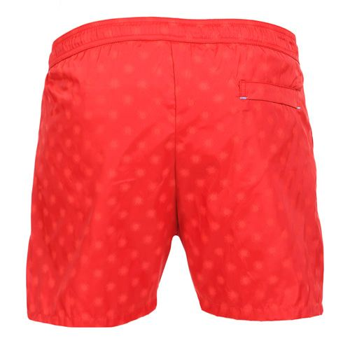 LIDO 1 MID-LENGHT BOARDSHORTS COLOR RED Made in Italy red Jacquard nylon LIDO 1 mid-length boardshorts. Two front pockets and a small press stud pocket featuring an hexagonal metal decoration. Back pocket. Internal net. Elastic waistband with adjustable drawstring. COMPOSITION: 100% POLYAMIDE. Model wears size L he is 189 cm tall and weighs 86 Kg.