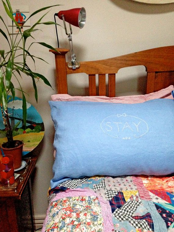 One of a kind embroidered pillowcase set : STAY by SandraEterovic