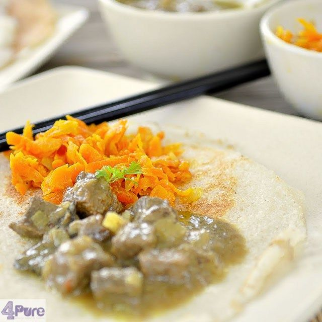Appam and Curry, a recipe from Sri Lanka with beef curry, appam and carrots