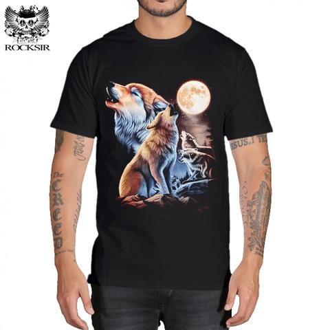 82d5dfa8abf8 Rocksir 3d wolf t shirt mens brand Men s 3D Wolf Print t shirt Summer Short  Sleeve