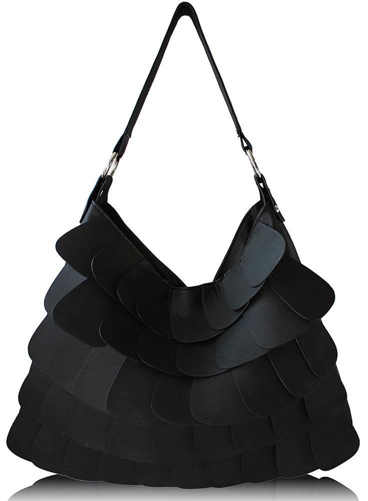 Black Stylish Layered Detail Shoulder Handbag
