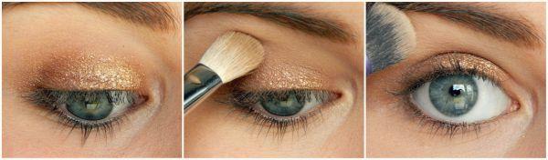 Etape 1 1. Appliquez un fard de couleur neutre (bronze, beige, taupe, …) sur l'ensemble de votre paupière mobile.  2. Floutez les bords à l'aide d'un pinceau estompeur pour fondre la couleur.  3. Appliquez un fard beige mat sous le sourcil en guise de touche lumière.