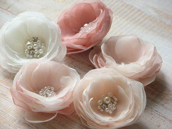 Satz von 5 Haare Blumen Blush Haar Blume Elfenbein Haar Blume Champagner Haar…