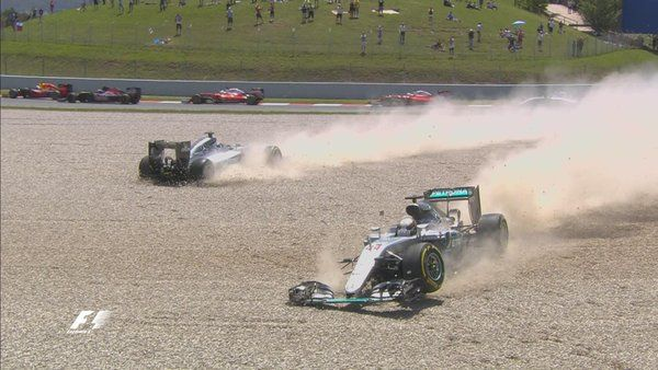 The Mercedes take each other out on Lap 1! Ricciardo leads! #F1
