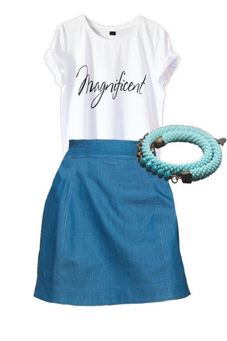 Мини образ с юбкой и белой футболкой  купить за 1120 грн. в интернет-магазин Stilecity  ✔ Лучшие цены ☆ Создайте свой собственный образ ♡ #Stilecity, новый капсульный гардероб на каждый день. Образ содержит: футболка юбка браслет