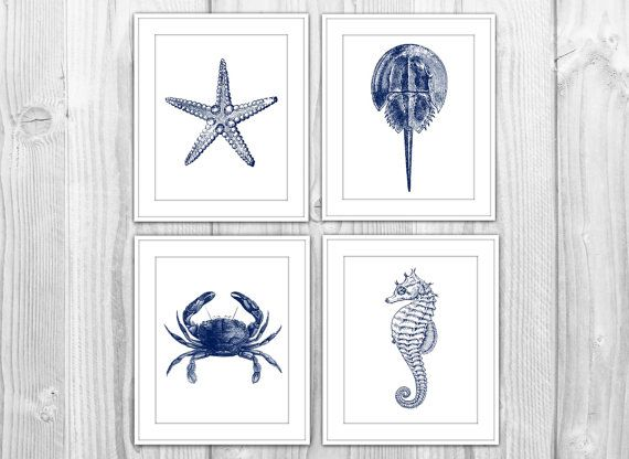 Navy nautical set of 4 art prints navy blue white for Navy blue bathroom accessories