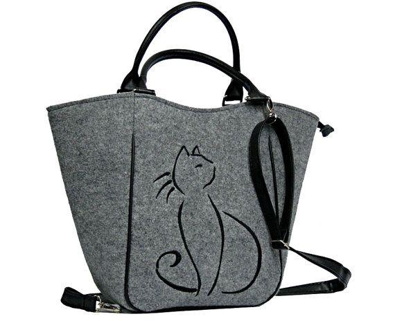 BLACK CAT BAG,cat purse,  Women felt bag, Felt totebag, Cat bag, Felt shopperbag, Felt handbag, Felt shoulder bag, Cat design bag