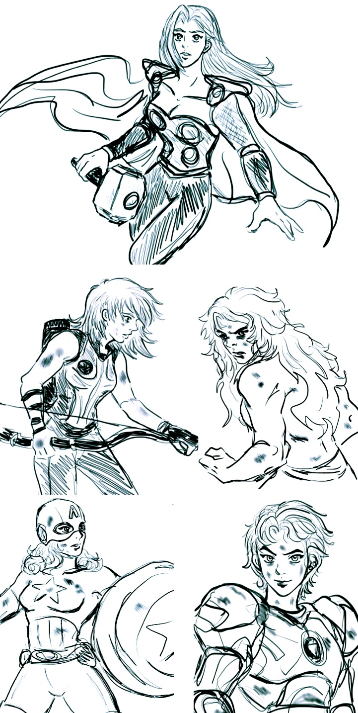 Avengers Gender Bender sketches by LucLeon.deviantart.com on @deviantART