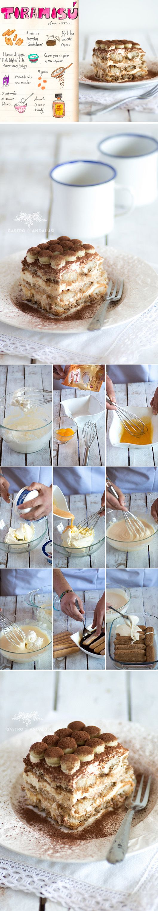 Tiramisú con galletas savoiardi y chocolate blanco / http://www.gastroandalusi.com/
