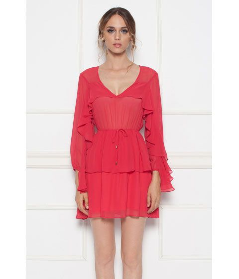 rochie rosie cu volane - Andra si Delia
