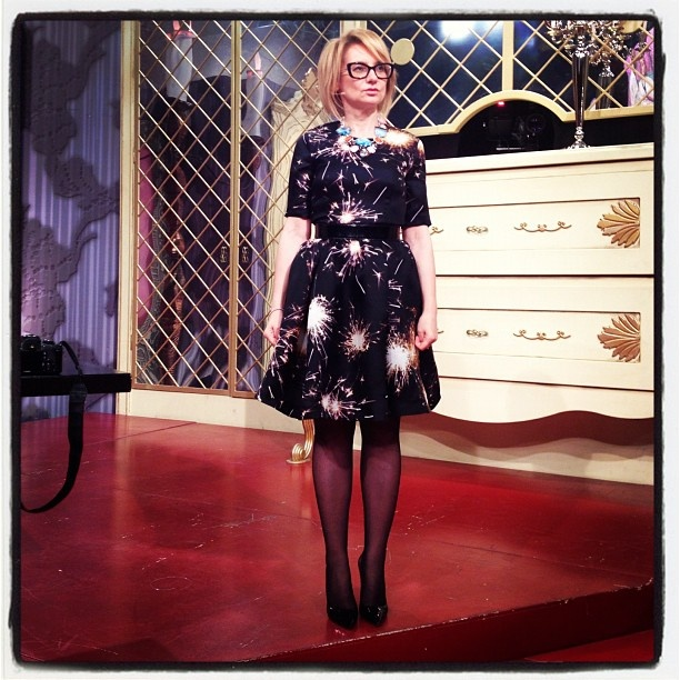 Style icon Evelina Khromtchenko. Dress by MSGM.
