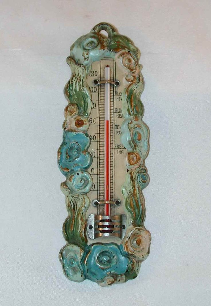 Vintage Painted Cast Iron Decorative Thermometer By Hubley Colorful Flowers