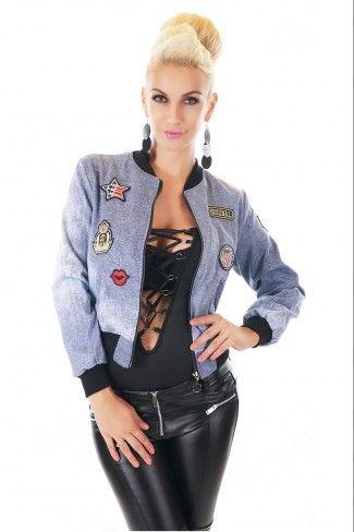 Bomber jacket με μπαλώματα - Μπλε