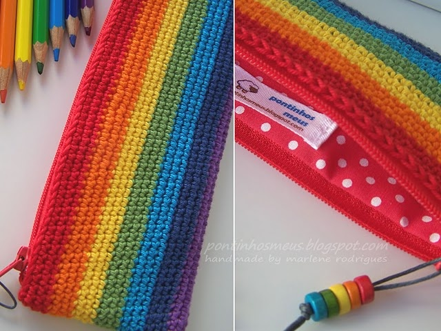 Cannot go past a rainbow crochet pencil case!