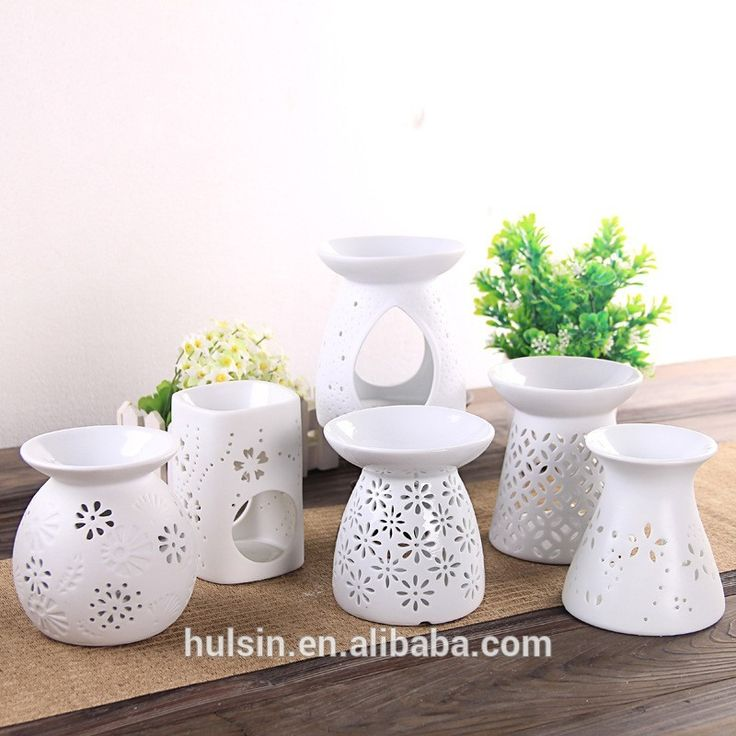 Wedding party plain white set of 6 hollow flower ceramic oil burner, View plain white oil burner, Hulsin Product Details from Suzhou Hulsin Electronic Co., Ltd. on Alibaba.com