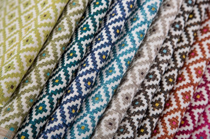 CORTE #fabric by BROCHIER: small #geometric appealing pattern, presented in bright colors and mélange. Rustic flavor, is made with 100% natural fibers. Ideal for #upholstery.