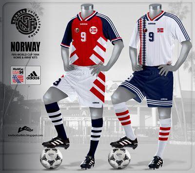 8-)Gördüğümüz formalar 1994 yılında Norveç milli takımı için dizayn edilmiş.Reklamın,renk kombinasyonlarının ahenk ve uyumuna dikkat etmek gerek.Sanki formanın renkleri değilde Adidas'ın ambleminden başka birşey göremiyormuşuz gibi.