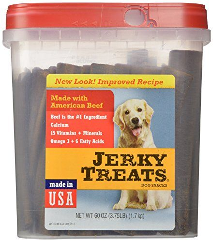 Jerky Treats Tender Beef Strips Dog Snacks, 60 oz/Large - Jerky Treats Tender Strips Dog Snacks have a new look and an improved recipe! They are a dog's favorite treat and are made with American beef. This healthy snack contains 15 vitamins plus minerals all essential for your pet. They also contain Omega 3 & 6 fatty acids for a healthy coat & skin. Mak...