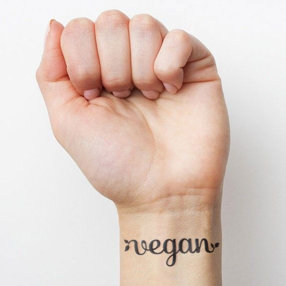 Custom lettered vegan tattoo, by Inkwell Studio
