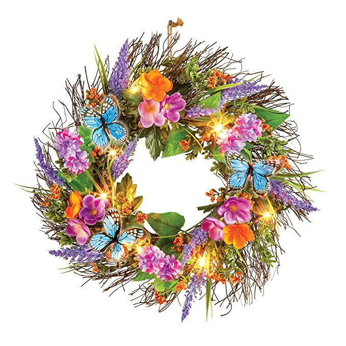 """by Collections Etc Butterfly Daisy Garden Colorful 18/"""" Wreath"""