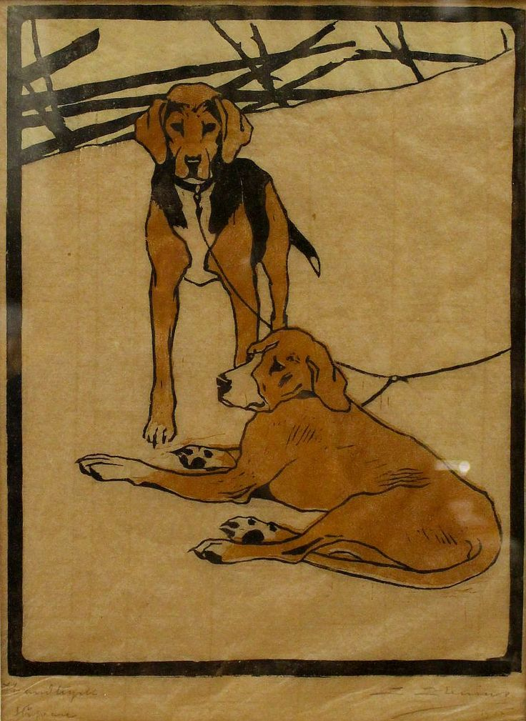 ✨ Erik Elenius (1885-1940) - Jakthundar, träsnitt, E Elenius-1915, Stöfvare, 27x21 cm ::: Hounds, Colour Woodcut