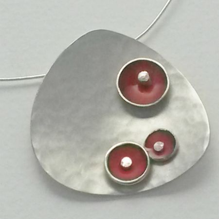 Satin hammered finish silver and enamel pendant by Evelyn Duffus Jewellery