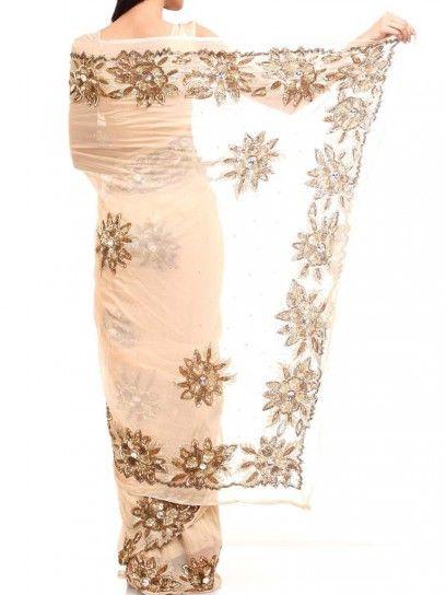 Peach sari with golden floral design