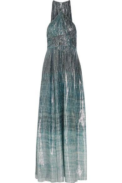 Rachel Zoe - Deven Printed Silk-blend Lamé Gown - Blue