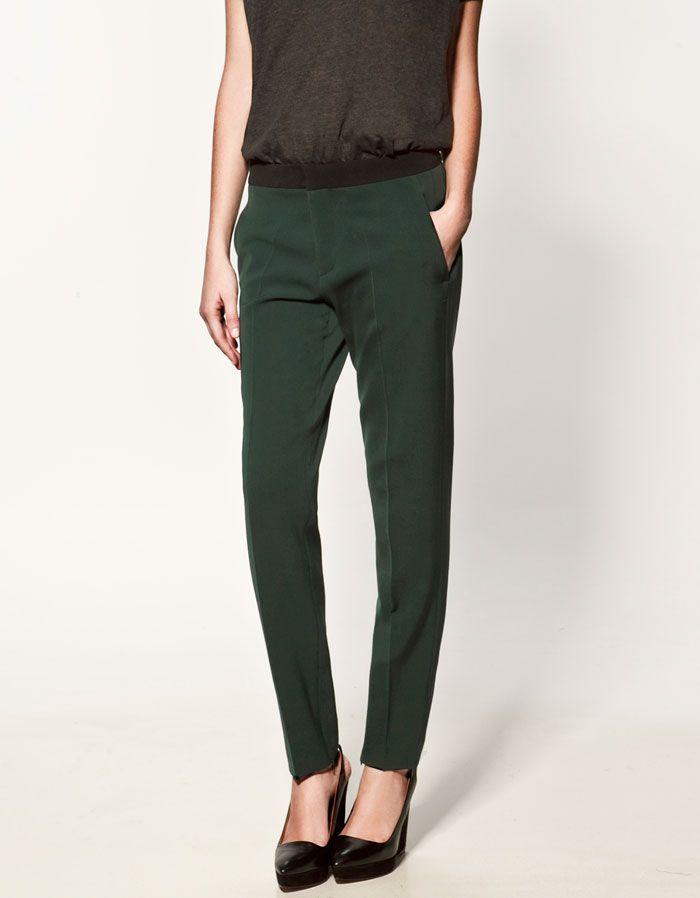pantalones de mujer verde ajustado