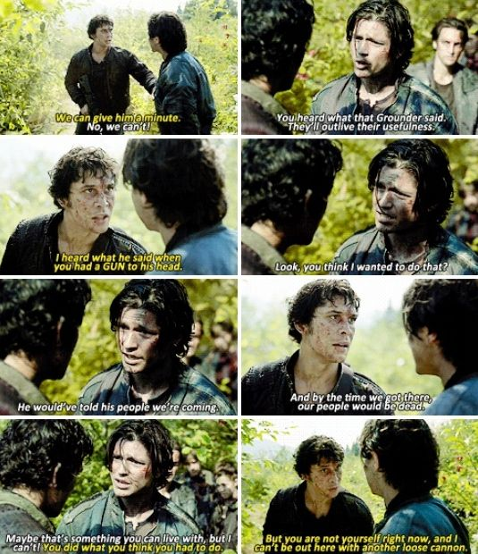 i really appreciate that the other characters (especially bellamy) notice that finn isn't acting like himself, and actually say something to him about it.
