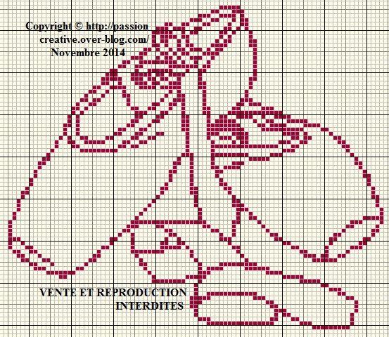 Grille gratuite point de croix : Chaussons de danse pointes monochrome - Le blog de Isabelle