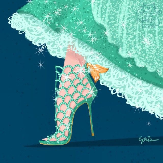 Ariel in Sergio Rossi Mermaid Cage Booties - Disney-Inspired Designer Shoes - Ariel