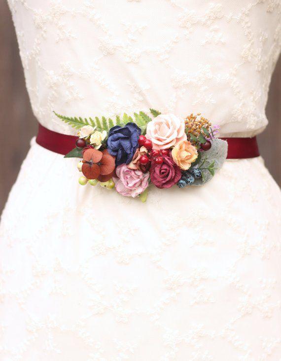 Floral Bridal Belt Wedding Flower Belt Fall Boho Belt Red Navy