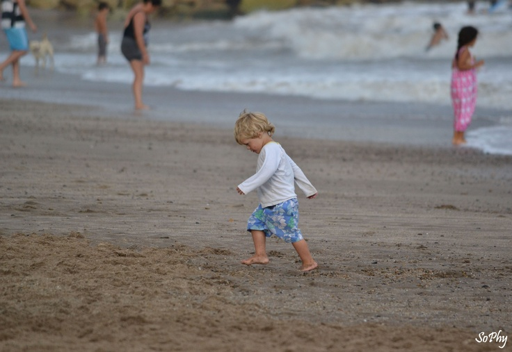 Angry child at beach. Mar Del Plata. Argentina