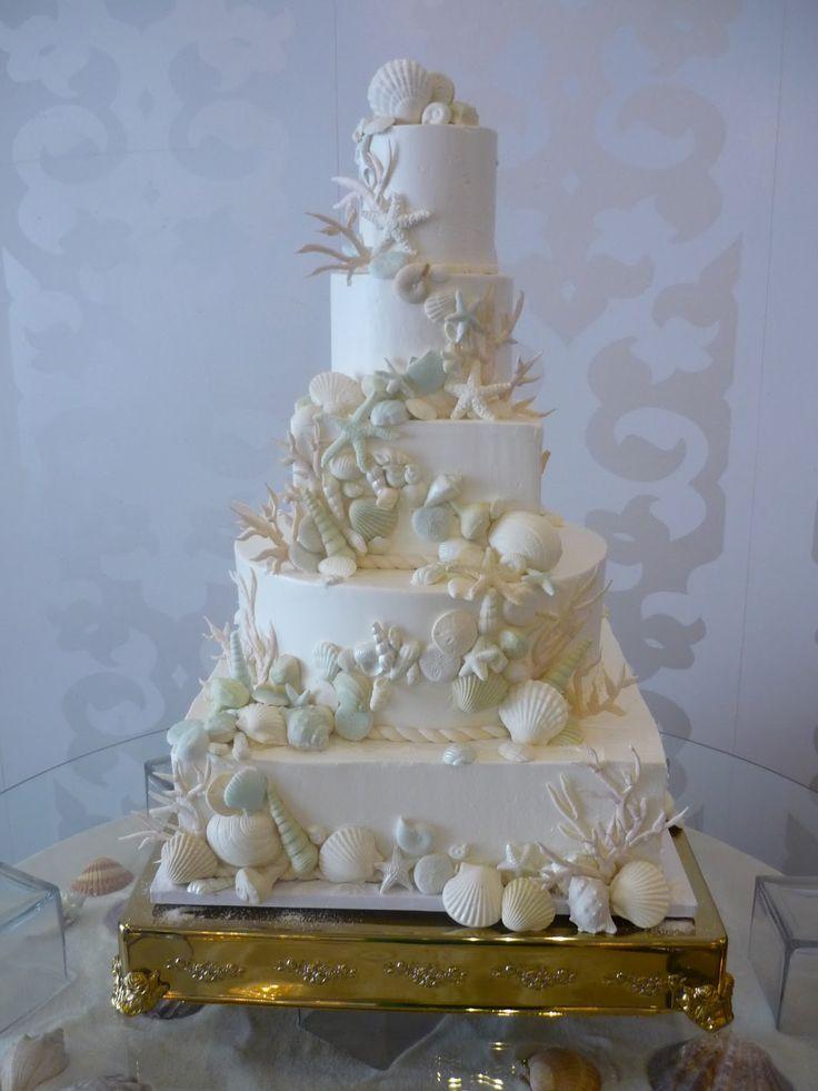 wedding cakes in lagunbeach ca%0A Grand SeaShell Wedding Cake   Belle Mer  Newport  Rhode Island We created  this   tiered wedding cake for a grand seashell inspi
