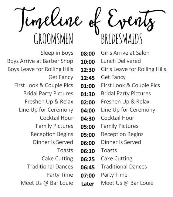 editable wedding timeline edit in word cute wedding day schedule for bridal party and family. Black Bedroom Furniture Sets. Home Design Ideas