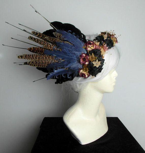 Gothic/Woodland Fairy Feather Headdress by JustAsStrangeAsIAm
