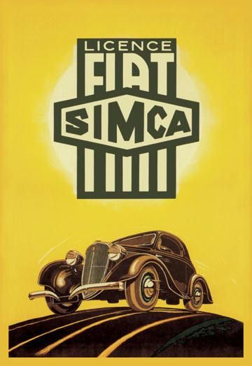 Licence Fiat Simca 12x18 Giclee on canvas